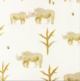 Snoozy fabrics Tricot digitaal bedrukt Neushoorn