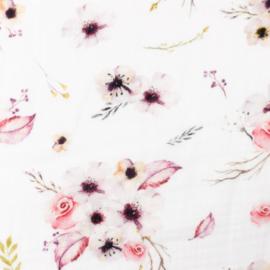 Snoozy fabrics Hydrofiel Sweet Pink flowers