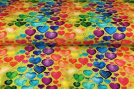 Stenzo tricot digital print Gekleurde hartjes