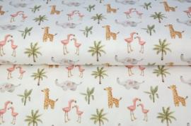 Stenzo poplin Flamingo's & girafje