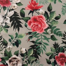 Snoozy fabrics Poplin digital Roos taupe