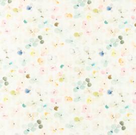 Snoozy fabrics Baby waffle Aqua bloemetjes