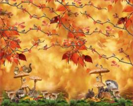 Stenzo tricot Paneel Herfst in het bos