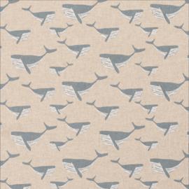 Deco stof linnenlook walvis lichtjeans