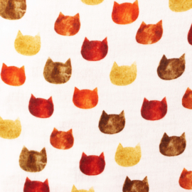 Snoozy fabrics Hydrofiel Kattenkopjes roest