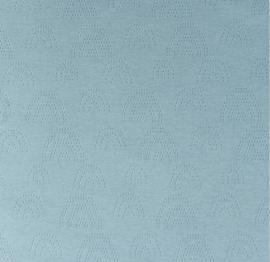Katoen Fijn gebreid Ajour  Regenboogjes ijsblauw