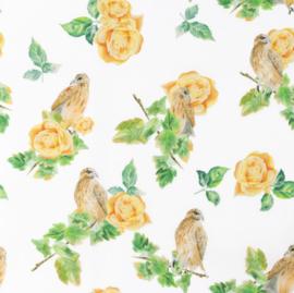 Snoozy fabrics Poplin digital Gele roos