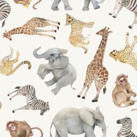 Tricot Digitaal bedrukt Jungle dieren