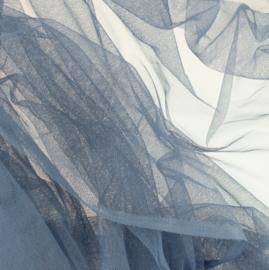 Soepele tule/ mesh Jeansblauw