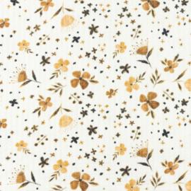Snoozy fabrics Baby waffle Bloemetjes bruin