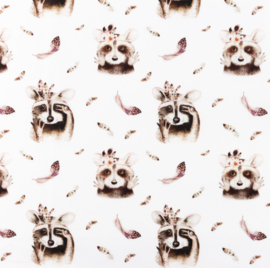 Snoozy fabrics Poplin Stokstaartje bruin