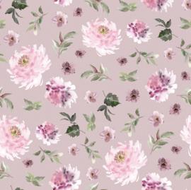Tricot digitaal bedrukt bloemen roze