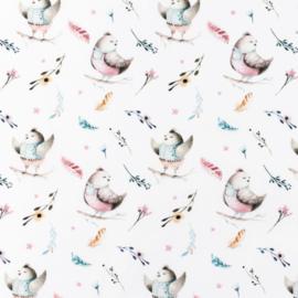 Snoozy fabrics Poplin digital Schattige vogeltjes