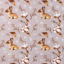 Snoozy fabrics Poplin Rabbit taupe