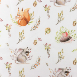 Snoozy fabrics Poplin digital Eekhoorn & muis