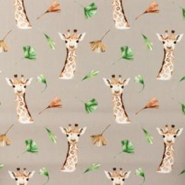 Snoozy fabrics Poplin digital Giraf taupe