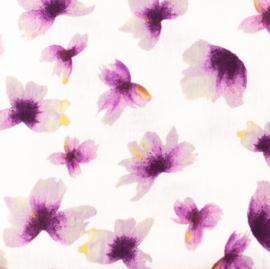 Snoozy fabrics Hydrofiel Paarse bloem
