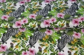 Stenzo poplin digital Zebra &flower