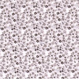 Hydrofiel Bloemen bedrukt Licht grijs