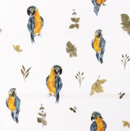 Snoozy fabrics Poplin digital Papegaai