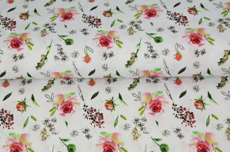 Stenzo tricot digital print Pink Flower