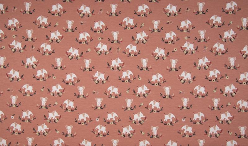 Qjutie tricot Elephants old rose