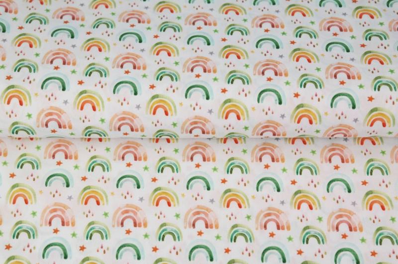 Stenzo poplin Stars and rainbows