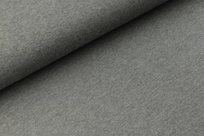 Katoen tricot Donker grijs melange