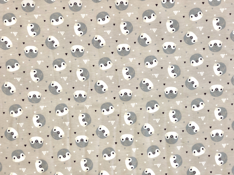 Organische katoen tricot Pinguin heads