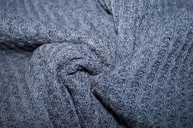 Gebreid katoen WAFEL jeansblauw