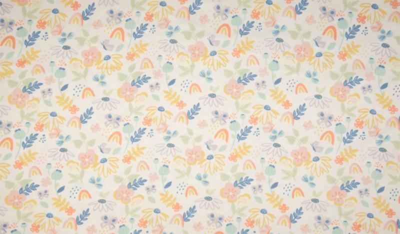 Qjutie tricot Sketch flowers ecru