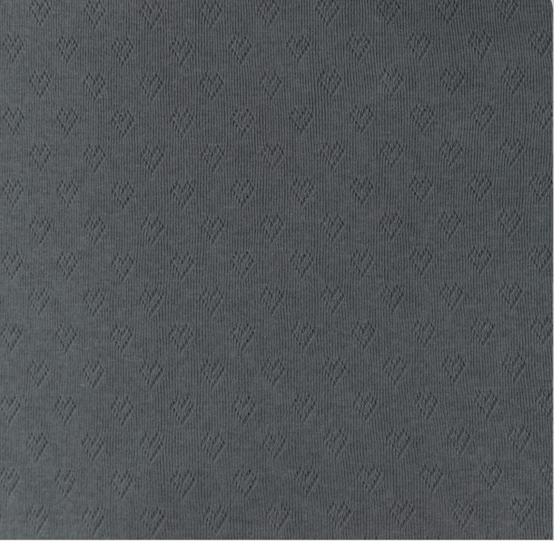 Katoen Fijn gebreid Ajour Hartjes grijs