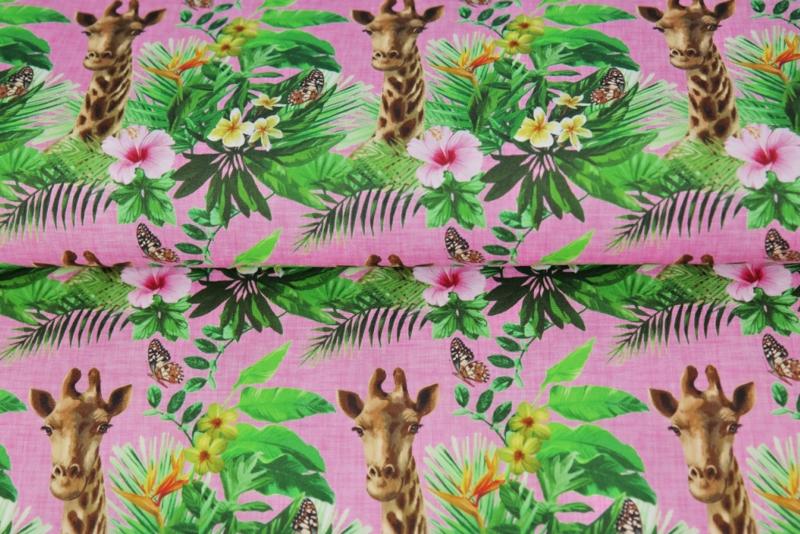 Stenzo poplin digital Giraffe & flower