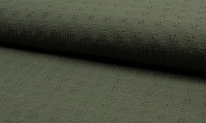 Qjutie hydrofiel Embroidery khaki