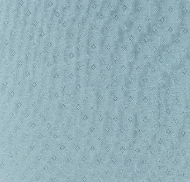 Katoen Fijn gebreid Ajour Ruitje ijsblauw
