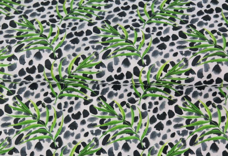 Stenzo poplin Leopard & leaves