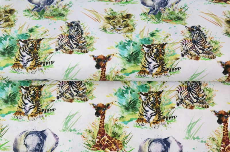 Stenzo poplin Little jungle animals