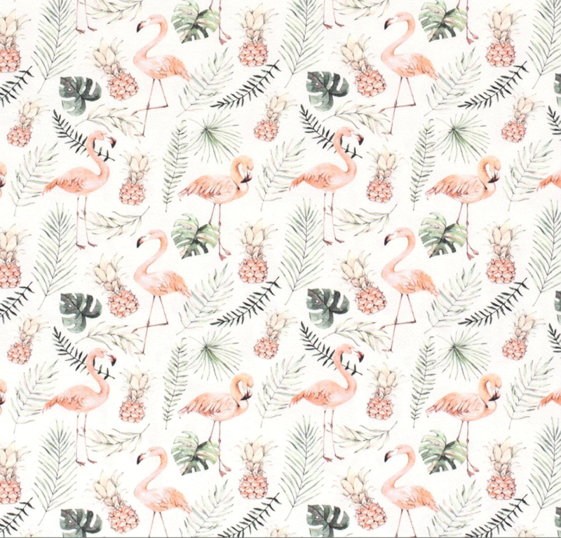 Tricot digitaal bedrukt ananas & flamingo