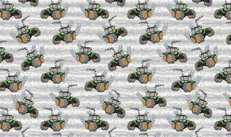 Katoen met tractors print