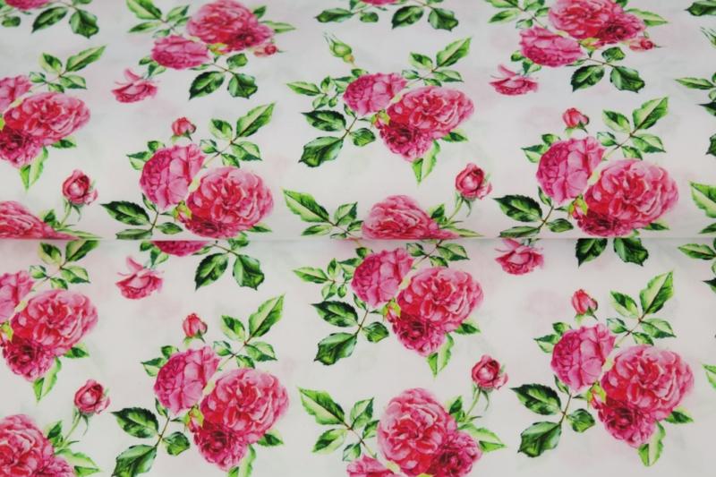 Stenzo poplin Pink roses