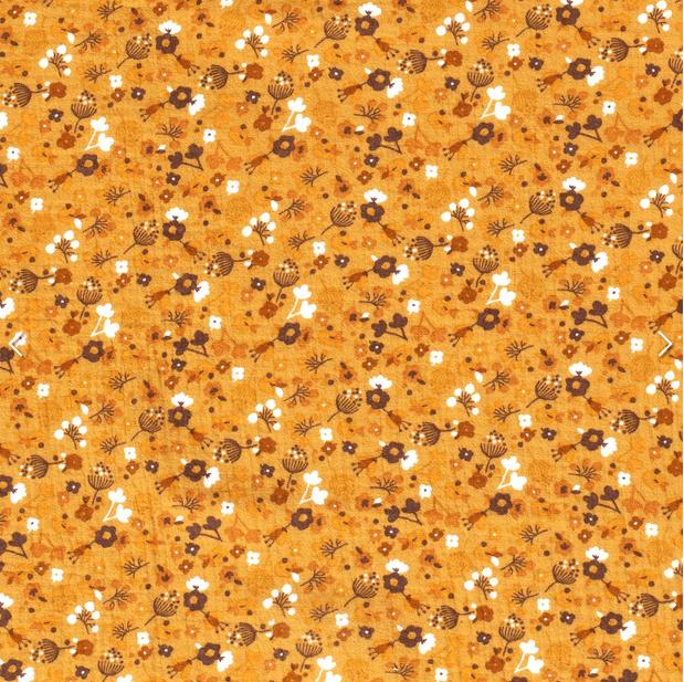 Hydrofiel Bloemen bedrukt Oker