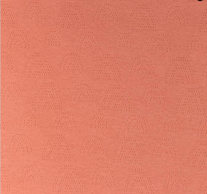 Katoen Fijn gebreid Ajour  Regenboogjes coral