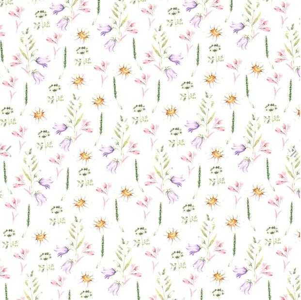 Tricot digitaal bedrukt bloemen & twijgen