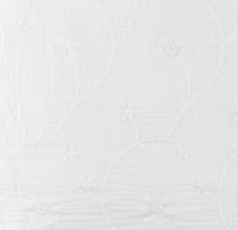 Hydrofiel Geborduurd Klaver wit