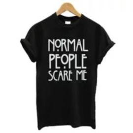 Norma people scare me zwarte dames t-shirt shirt topje tops