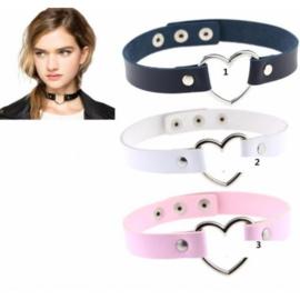 kpop Choker Gothic punk leren halsketting met hart