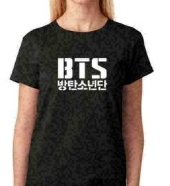 Zwarte BTS T-shirt shirt topje tops shirtje kleding Kpop