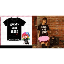 Japanse text Kawaii T-shirt Shirt Tops Zwart