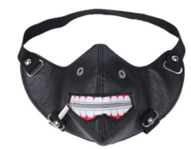 Tokyo Ghoul Kaneki Ken Masker met eye patch oog lap halloween masker mondkapje mondmasker PU leren mondkapjes