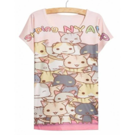 Kawaii Kat Cat T-shirt Shirt Topje Tops Lolita Japan one size